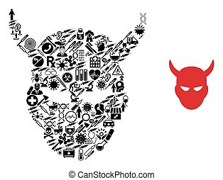 Mosaic daemon head of healthcare symbols and basic icon. Mosaic vector daemon head is formed of health symbols. Abstract illustrations elements for pandemic illustrations.
