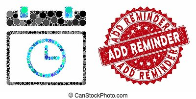 Mosaic Date Time with Grunge Add Reminder Stamp