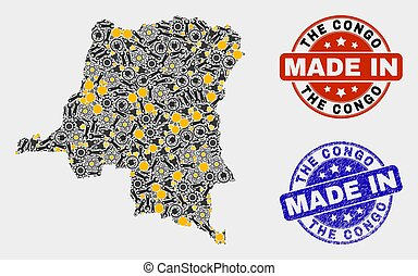 Mosaic Democratic Republic of the Congo Map of Production Elements and Made In Grunge Stamp