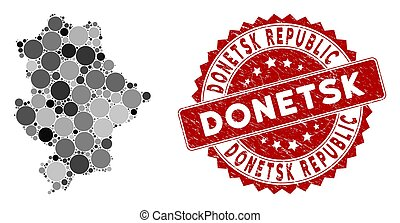 Mosaic Donetsk Republic map and round stamp. Flat vector Donetsk Republic map mosaic of random round elements. Red seal stamp with corroded design. Designed for political and patriotic promotion.