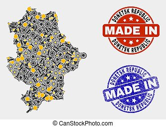 Mosaic Donetsk Republic Map of Industry Items and Made In Grunge Stamp