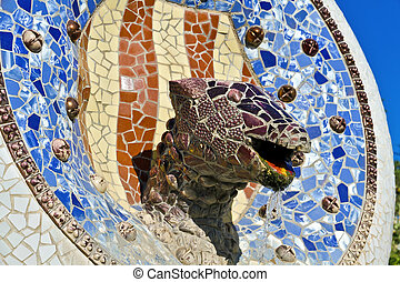 Mosaic Dragon made of broken ceramic