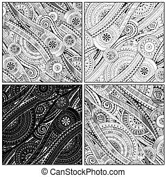 Mosaic drawing tribal doddle ethnic pattern.