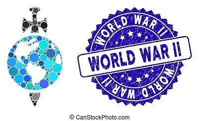 Mosaic Earth Guard Icon with Textured World War Ii Seal