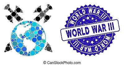 Mosaic Earth Swords Icon with Grunge World War Iii Seal