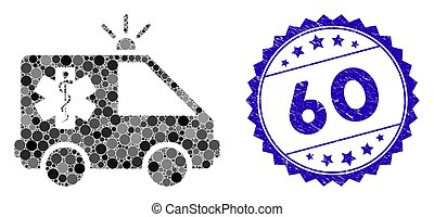 Mosaic Emergency Car Icon with Scratched 60 Seal