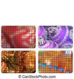mosaic., ensemble, cadeau, bonification, eps, gabarit, cartes, 8