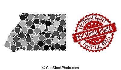 Mosaic Equatorial Guinea Map and Grunge Circle Stamp Seal - ...