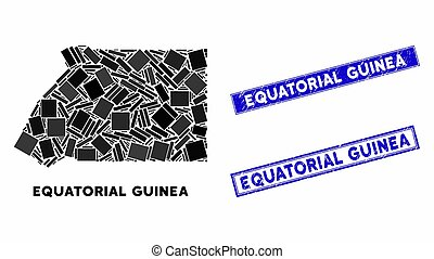 Mosaic Equatorial Guinea Map and Scratched Rectangle Stamp ...
