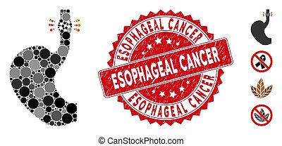 Mosaic esophageal cancer icon and grunge stamp seal with Esophageal Cancer caption. Mosaic vector is created with esophageal cancer icon and with randomized round items.