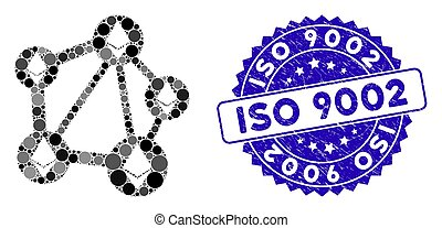 Mosaic Ethereum Network Icon with Textured ISO 9002 Stamp