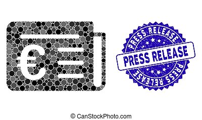 Mosaic Euro Banking News Icon with Distress Press Release Stamp