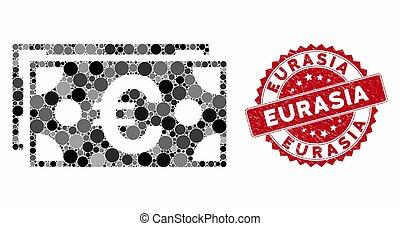 Mosaic Euro Banknotes with Textured Eurasia Seal