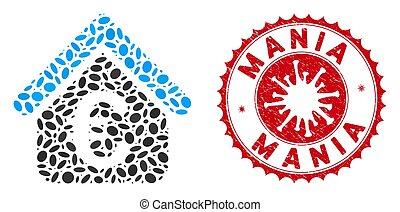Mosaic Euro Loan Real Estate Icon with Coronavirus Textured Mania Stamp