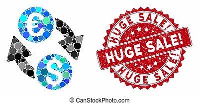 Mosaic Euro Money Exchange with Textured Huge Sale! Stamp