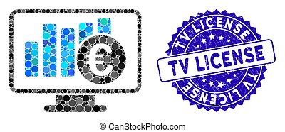 Mosaic Euro Stock Market Monitoring Icon with Textured TV License Stamp