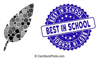 Mosaic Feather Icon with Grunge Best in School Stamp