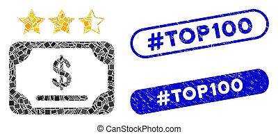 Mosaic Financial Share Rating Icon with Coronavirus Grunge #Top100 Stamp