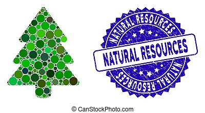 Mosaic Fir-Tree Icon with Scratched Natural Resources Stamp