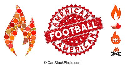 Mosaic Fire Flame Icon with Scratched American Football Stamp