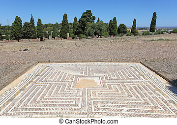 Mosaic floor in the Roman ruin Italica. Province Seville, Andalusia, Spain