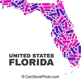 Mosaic Florida State Map of Dots and Lines