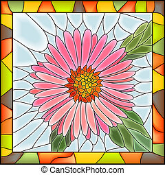 Vector illustration of flower pink aster stained glass window with frame.