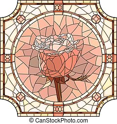 Mosaic flower pink rose. - Vector mosaic of brightly pink...
