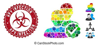 Mosaic For Gays Icon with Grunge Hpv Infection Seal