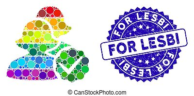 Mosaic For Lesbian Icon with Distress For Lesbi Stamp