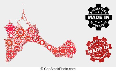 Mosaic Formentera Island Map of Gearwheel Elements and Grunge Seal