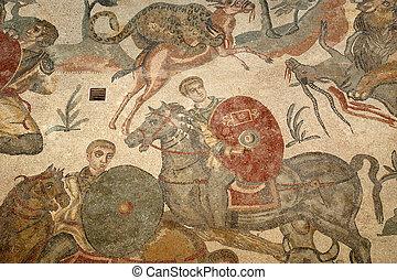 Mosaic fragment Roman Villa Romana del Casale, Sicily....