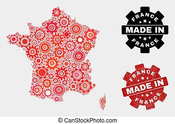 Mosaic France Map of Gear Elements and Grunge Stamp