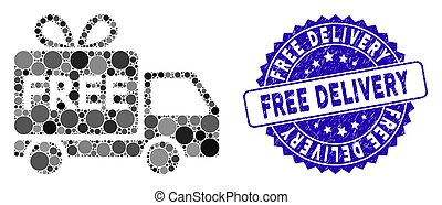 Mosaic Free Delivery Icon with Grunge Free Delivery Stamp