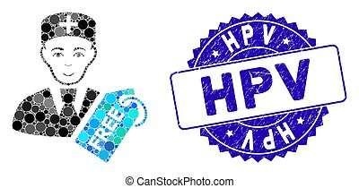 Mosaic Free Doctor Icon with Grunge Hpv Stamp