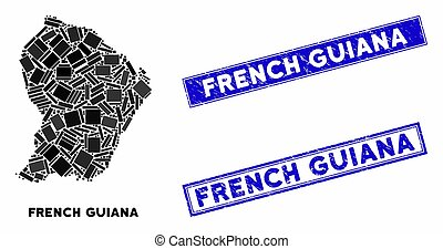 Mosaic French Guiana Map and Scratched Rectangle Stamp Seals