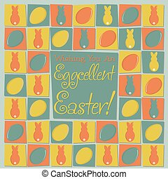 Mosaic funky Easter card in vector format.