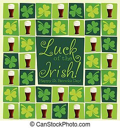Mosaic funky St. Patrick's Day card in vector format.