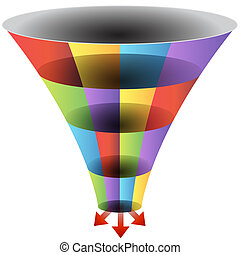 Mosaic Funnel Chart Set - An image of a mosaic 3d funnel...