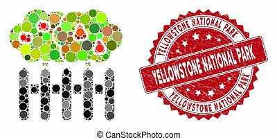 Mosaic Garden with Distress Yellowstone National Park Stamp