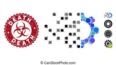 Mosaic Gear Synthesis Icon with Grunge Death Seal - Mosaic ...