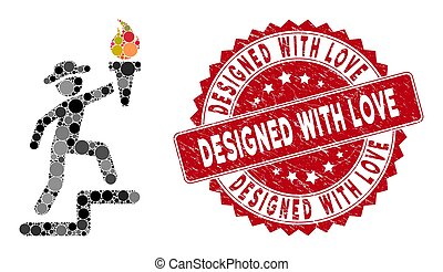 Mosaic Gentleman Climbing with Torch with Grunge Designed with Love Stamp
