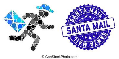 Mosaic Gentleman Mail Courier Icon with Textured Santa Mail Stamp