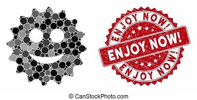 Mosaic Glad Sticker with Grunge Enjoy Now! Seal