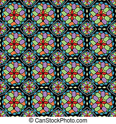 Mosaic glass seamless pattern