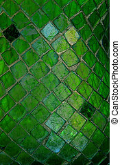 Mosaic Glass Tiles Texture - Macro image of green mosaic cut...