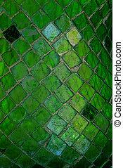 Mosaic Glass Tiles Texture - Macro image of green mosaic cut...