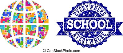 Mosaic Globe and Scratched School Stamp Collage