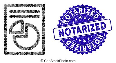 Mosaic Graph Page Icon with Textured Notarized Stamp