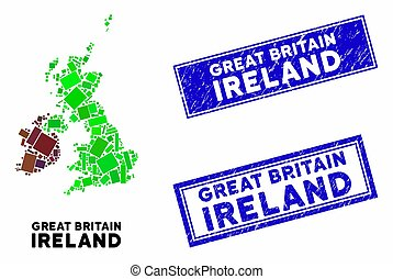 Mosaic Great Britain and Ireland Map and Grunge Rectangle Seals